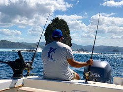 Admiring Gorilla Rock while fishing for Roosterfish