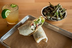 Chicken salad wrap and grilled okra
