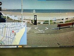 South beach only a 2 min walk away.