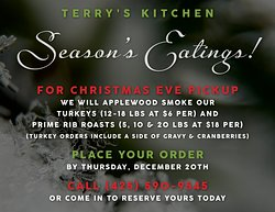 This upcoming Holiday we'll be offering our Turkey or Prime Rib Roast by reservation. 😋 Preorder now and pick up your order on December 24th. We've added some target guidelines for order weight this time. If you have any questions, just give us a call or stop by the restaurant.  Thank you, everyone, and do place your order by Thursday, December 20th!