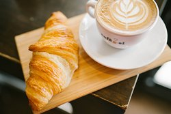 Butter croissant and cappuccino