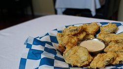 Fried Pickles with texas ranch