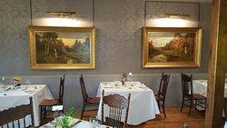 Pressed linens of the elegant  Victoria Room restaurant