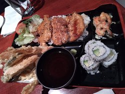 Teriyaki Chicken Bento Box with Tempura and California Roll