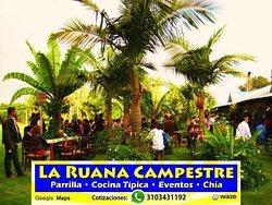 Restaurante La Ruana Campestre Parrilla, Cocina Típica & Eventos  EVENTOS EMPRESARIALES Y FAMILIARES. Despedidas de Fin De Año. Chía, Sabana de Bogotá  Cotizaciones: Whatsapp: 3103431192 e-mail: laruanacampestre@yahoo.es Página Web: http://www.laruanacampestre.wixsite.com/chia  Organizamos sus Eventos Empresariales.  Ambiente Campestre. Sabana de Bogotá. Capacidad para grupos grandes. Amplio Estacionamiento. Campo de Fútbol.