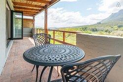 Cherubim's terrace overlooks the beautiful Blaauwklippen valley