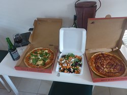 2 Pizzas & Greek Salad for $50