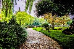 中国安徽省舒城县,飞霞公园.  A walking trail at Feixia Park in central Shucheng, Anhui Province, China.