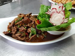 Spicy Beef with Aubergine and Beans