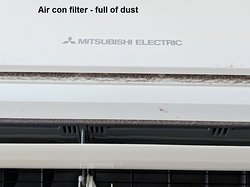 air con full of dust, this can lead to a fire hate to see the main filter how much dust is in it, air con does not even work as it should