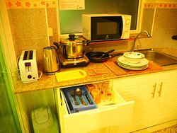 small kitchen for double single bed room type and twin bed rooms type.