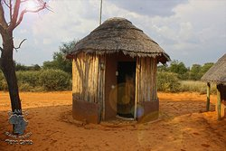 External view lavatory hut (shower only). There are 3 shared lavatory huts, having a shower, basin and toilet. Each hut has its own geyser. Tissue, towels and soap provided.