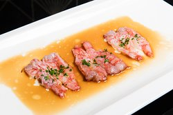 Gamberi rossi di Mazare del vallo scottati in olio e salsa di sesamo