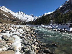 Day visit to Chitkul. Baspa river at Chitkul.