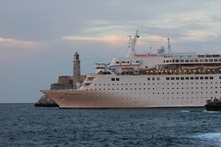 A cruise ship getting out of Havana`s bay