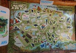 O mapa do Parque das Aves para guiar o visitante.