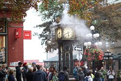 Steam Clock view from the table