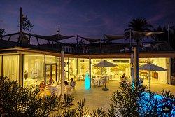 Restaurant terrace at evening