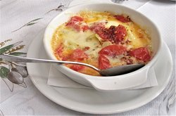 Spicy cheese and tomato dish.