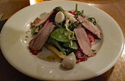 Smoked Duck with Quails Eggs - Starter