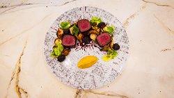 Venison/Butternut Squash Puree/Brussel Sprouts/Fermented Blueberry Gastrique