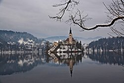 Lake Bled. With a charming island full of ancient stories, reflections on the waters' surface.