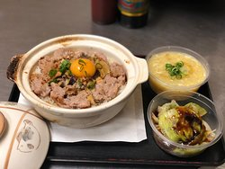 Clay Pot Rice - Meat loaf & salty fish with Soup & Veg