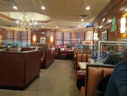 Have you ever seen a chandelier in a Diner? Now you did:-) Love them glass dividers between the booths. Blocks out unwanted conversations and rambunctious children popping over don't you agree?