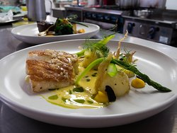 Today's Freah Grouper with brown butter buerre blanc, fondant patato, black garlic and greens