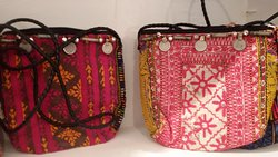 hand embroidered beautiful sling bags with old coins.
