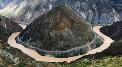 The first bend of Jinsha (Yangtze) River, Taken from Benzilan Town, 90km from hotel