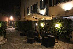 This is some of the seating in the courtyard of the hotel.