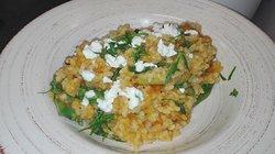 Pumpkin & Asparagus W/spinach/goat feta/walnuts/parsley v