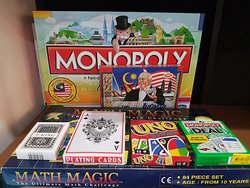 Our games, including monopoly, UNO, cards, math magic.