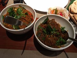 dry lamb curry and chicken curry
