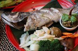 "Y4.""PLA NHUNG"" Steamed whole fish ปลานึ่ง      Sea bass stuffed with lemongrass, galangal, lime leaves, lemon, topped with special fish sauce. Served with seasonal organic mix vegetable"