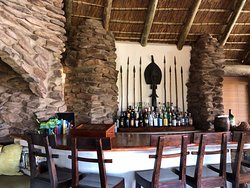The bar inside the main lodge