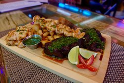 Mixed Grill with Churrasco, flap meat, chicken, Shrimp. Served with yuca fries, chimichurri & Galric aioli
