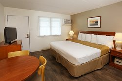 Type 1 motel room with King bed.  Two units in this style one with a pool view one with no view