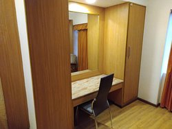 Mirror and cupboard