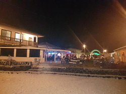 Hotel view from the beach side during nightclub hours.