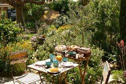 Petit-déjeuner sur la terrasse ensoleillée, côté jardin méditerranéen.