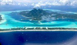 View of the The Four Seasons flying into Bora Bora.