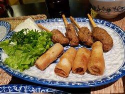 Grilled Pork + Fried Spring Rolls