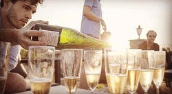 A shot from our promo video, me pouring Nebbiolo bubbles by one of my favorite producers