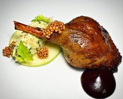 Honey Glazed Duck Leg Confit, Celeriac Apple Remoulade, Sour Cherry #ninearchesrestaurant