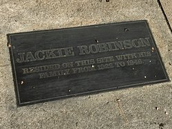 Plaque in front of Front of Jackie Robinson home