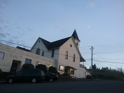 Church at dusk, from the Rainier Oregon Historical Museum