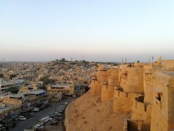 late afternoon view from Jaisalmer Fort, can see the city out side of the fort
