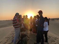 Enjoy the sunset season in the middle of desert